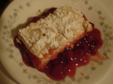 Slice of Gluten Free Cherry Cobbler.