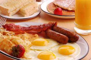 bacon, sausage, egg breakfast