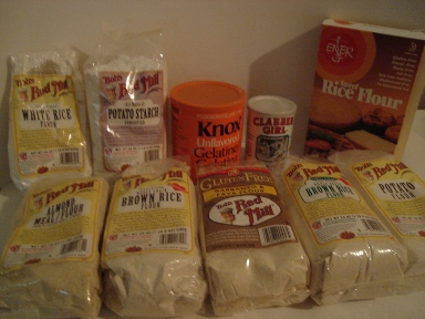 Pictures of various gluten-free flours