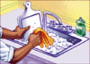 washing dishes in kitchen sink